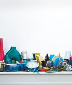 a cluttered shelf real simple magazine